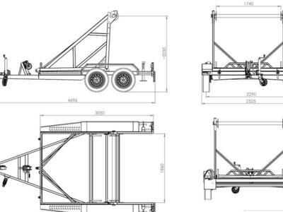 TA-NO Kabeltrommelanhänger 2700 kg Handseilwinde